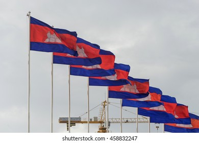 Phnom Penh, Cambodia - Jul 6 2016: Cambodia flags in front of a big building site in Phnom Penh.