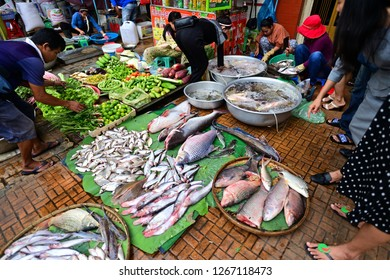 Phnom Penh, Cambodia. - June 21, 2018 : The food market in Phnom Penh.