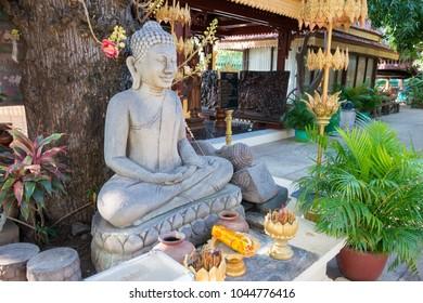 Phnom Penh, Cambodia - Mar 11 2018: Buddha statue at Royal Palace of Cambodia in Phnom Penh, Cambodia.