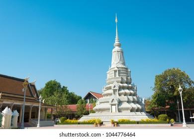 Phnom Penh, Cambodia - Mar 11 2018: Pagoda at Royal Palace of Cambodia in Phnom Penh, Cambodia.