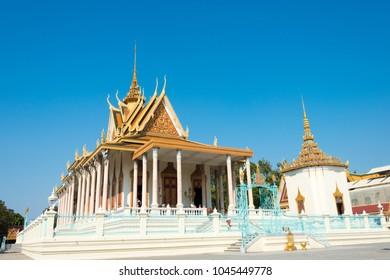 Phnom Penh, Cambodia - Mar 11 2018: Silver pagoda at Royal Palace of Cambodia in Phnom Penh, Cambodia.