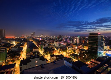 PHNOM PENH, CAMBODIA - MARCH 14th, 2018:Cityscape of  light morning  building, abstract background