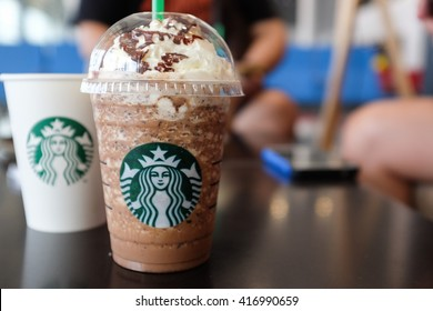 Phnom Penh, Cambodia - May 02, 2016: Glass of Starbuck Coffee Frappuccino Blended Beverages. Starbucks is the world's largest coffee house with over 20,000 stores in 61 countries.