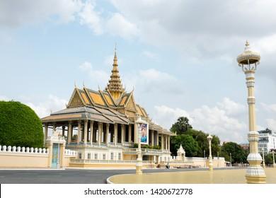 Phnom Penh, Cambodia - May 6th, 2016: Royal Palace or the royal residence of the king of Cambodia. Its full name in the Khmer language is Preah Barum Reachea Veang Chaktomuk Serei Mongkol.