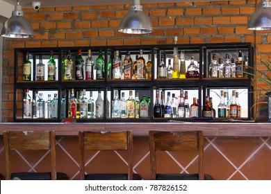 Phnom Penh, Cambodia - Nov 18,2017 : Various liquor bottles on the shelf ,Phnom Penh, Cambodia
