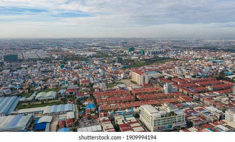 Phnom Penh, Cambodia - Nov 2, 2020 : Top View of Building in a City - Aerial view Skyscrapers flying by drone of Phnom Penh city