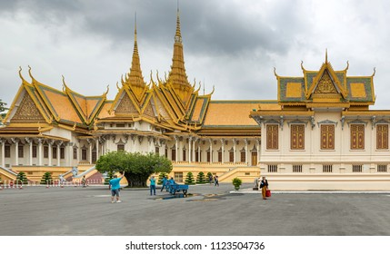 Phnom Penh, Cambodia - November 14, 2017: People visiting Phnom Penh Royal Palace Silver Pagoda built by King in 1902 is sanctuary of royal ashes and its floor is covered with 5329 silver tiles