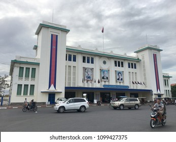 PHNOM PENH, CAMBODIA - NOVEMBER 2017: A front view at the Phnom Penh railway station. As of February 2014, the station is only used for sporadic goods transport chiefly oil tank trains