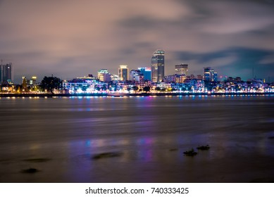 Phnom Penh, Cambodia, October, 2017: The other side of Mekong River with the new building.