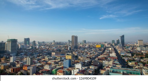 Phnom penh cambodia overview Daytime from Sky bar in the middle of city