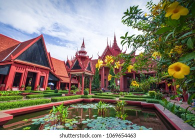 Phnom Penh, Cambodia - SEPTEMBER 21, 2013: Traditional Khmer architecture and beautiful courtyard of the National Museum of Cambodia. Phnom Penh City.