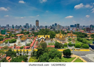 Phnom Penh City, Cambodia May 1st, 2019: Ariel view of The capital city of Kingdom of Cambodia and the royal palace