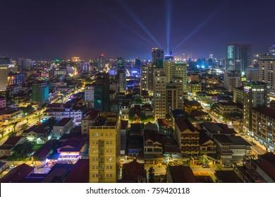 Phnom Penh city at night,Cambodia