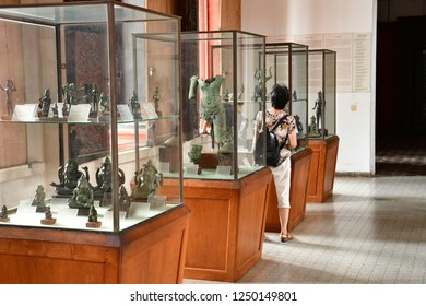 Phnom Penh; Kingdom of Cambodia - august 20 2018 : the National Museum of Cambodia, collection of Khmer art