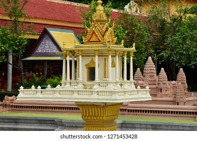 Phnom Penh; Kingdom of Cambodia - august 20 2018 : the Royal Palace