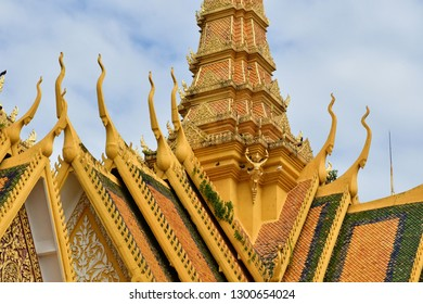 Phnom Penh; Kingdom of Cambodia - august 20 2018 : the throne hall of the Royal Palace