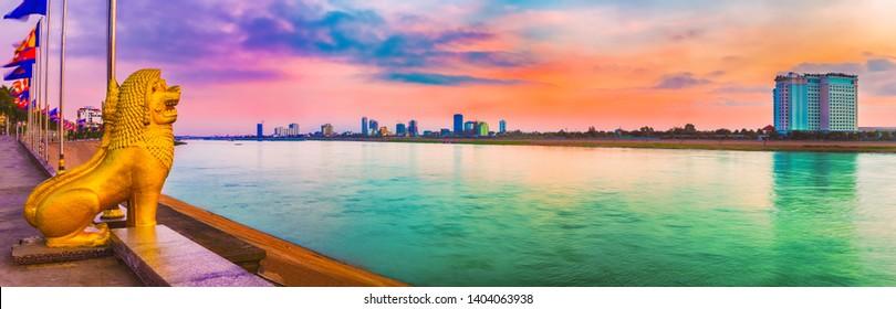 Phnom Penh riverside at sunrise. Cambodia. Panorama