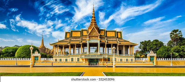 Phnom Penh tourist attraction and famouse landmark - panorama of Royal Palace complex, Cambodia
