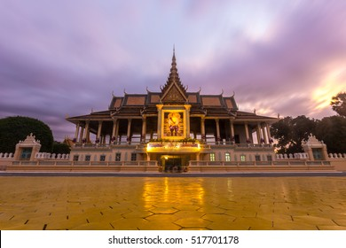 Phnom Penh tourist attraction and famouse landmark - Royal Palace complex on sunset, Cambodia