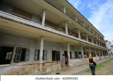 PHNOM PENH:CAMBODIA; APRIL 11 Tuol Sleng Genocide Museum in phnom penh on 11 april 2017. Formerly the Chao Ponhea Yat High School, chronicling the Cambodian genocide