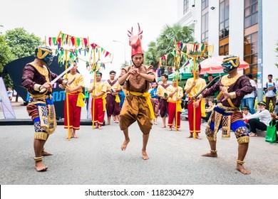 Phnom Penh/Cambodia - September 15, 2018: Khmer Trot Dance Performed During the Celebration of Cleanup day Ceremony in Phnom Penh. Robam Trot Khmer.