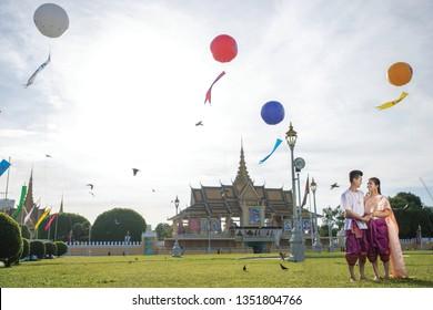 Phnompenh/Cambodia - Dec 18 2018 : The couple Khmer take photo prewedding  to prepare their wedding party on new year