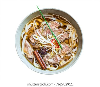 Pho bo noodle soup isolated on white background