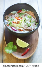 Pho bo, Vietnamese food, rice noodle soup with sliced beef