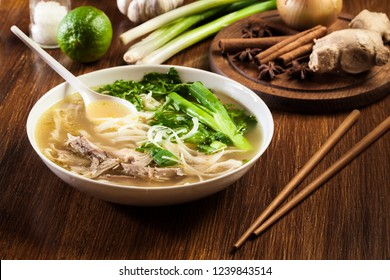 Pho Ga - chicken noodle soup. Traditional Vietnamese soup