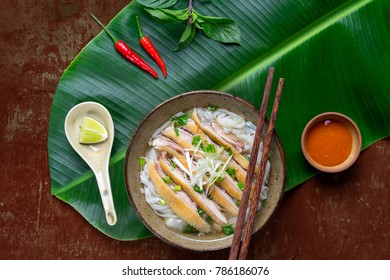 Pho Ga vietnamese, Soup with chicken on leaf banana background