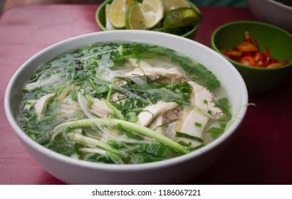 Pho noodle soup from Vietnam - rice noodle chicken soup