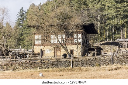PHOBJIKHA VALLEY, BHUTAN - MARCH 03, 2014: A remote farmer's house in Phobjika valley, a valley high in the mountains of Bhutan.