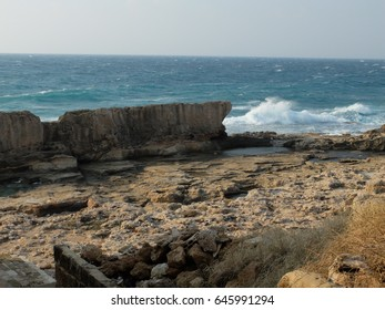 The Phoenician sea wall in Batroun, Lebanon