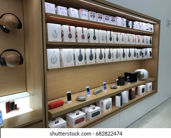 PHOENIX - APRIL 19: In-store display of Apple compatible sound and audio accessories inside of the newly remodeled Apple Store at Arrowhead Towne Center shopping mall in Phoenix, AZ on April 19, 2017.