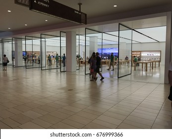 PHOENIX - APRIL 19: Looking into the newly remodeled Apple retail store located inside of Arrowhead Towne Center shopping mall in Phoenix, Arizona on April 19, 2017.