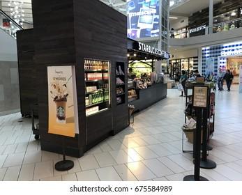 PHOENIX - APRIL 19: A Starbucks store kiosk located inside of Arrowhead Towne Center shopping mall in Phoenix, Arizona on April 19, 2017.