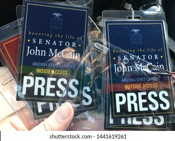 Phoenix, Ariz. / US - August 28, 2018: Press passes for journalists providing coverage of memorial events for Senator John McCain. 6794