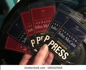 Phoenix, Ariz. / US - August 28, 2018: Press passes for journalists providing coverage of memorial events for Senator John McCain. 6796
