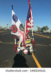 Phoenix, Ariz. / US - August 29, 2018: A Patriot Guard Riders bike during preparations for Sen. John McCain to be brought to lie in state at the capital. 6803