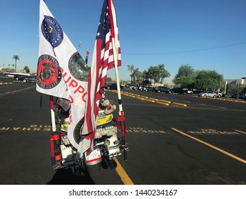 Phoenix, Ariz. / US - August 29, 2018: A Patriot Guard Riders bike during preparations for Sen. John McCain to be brought to lie in state at the capital. 6802