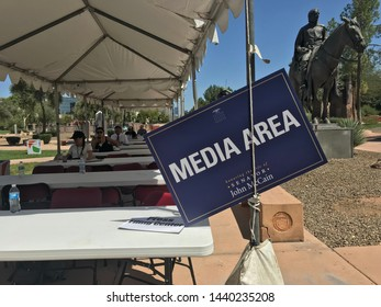 Phoenix, Ariz. / US - August 29, 2018: Media area at the state capital while Sen. John McCain lies in state. 6818