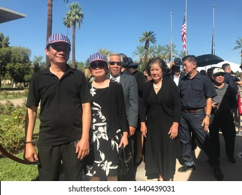Phoenix, Ariz. / US - August 29, 2018: South Vietnamese emigrant mourners line up to see Sen. John McCain lie in state at the capital. 6847