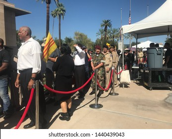 Phoenix, Ariz. / US - August 29, 2018: South Vietnamese emigrant mourners line up to see Sen. John McCain lie in state at the capital. 6840