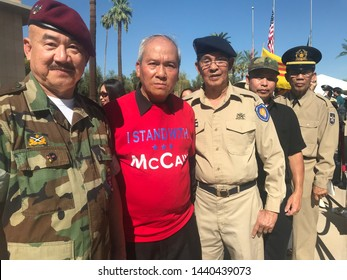 Phoenix, Ariz. / US - August 29, 2018: South Vietnamese emigrant mourners line up to see Sen. John McCain lie in state at the capital. 6842