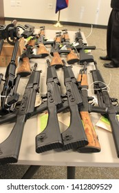 Phoenix, Ariz. / US - January 25, 2011: Guns, handguns, AK-47s and .50 caliber rifles, on display during an announcement about arrests and weapons seizures made during Operation Fast and Furious. 3968