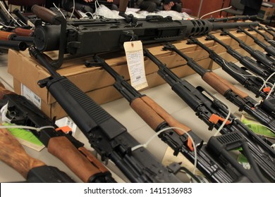 Phoenix, Ariz. / US - January 25, 2011: Guns, handguns, AK-47s and .50 caliber rifles, on display during an announcement about arrests and weapons seizures made during Operation Fast and Furious. 3973