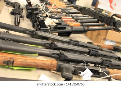 Phoenix, Ariz. / US - January 25, 2011: Guns, handguns, AK-47s and .50 caliber rifles, on display during an announcement about arrests and weapons seizures made during Operation Fast and Furious. 3967