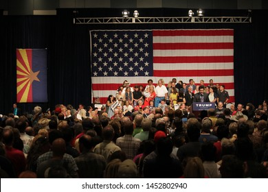 Phoenix, Ariz. / US - July 11, 2015: The audience waits at an event for presidential candidate Donald Trump, late by over an hour, to receive Maricopa County Sheriff Joe Arpaio's endorsement. 6114