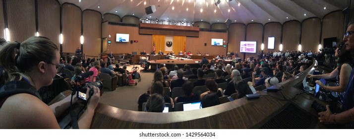 Phoenix, Ariz. / US - June 19, 2019: Activists and community members pack into a City Council Meeting on police violence after officers held the Ames Harper family at gunpoint. 4283