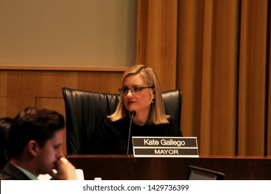 Phoenix, Ariz. / US - June 19, 2019: Mayo Kate Gallego at a City Council Meeting hearing community concerns about police violence after officers held the Ames Harper family at gunpoint. 7121